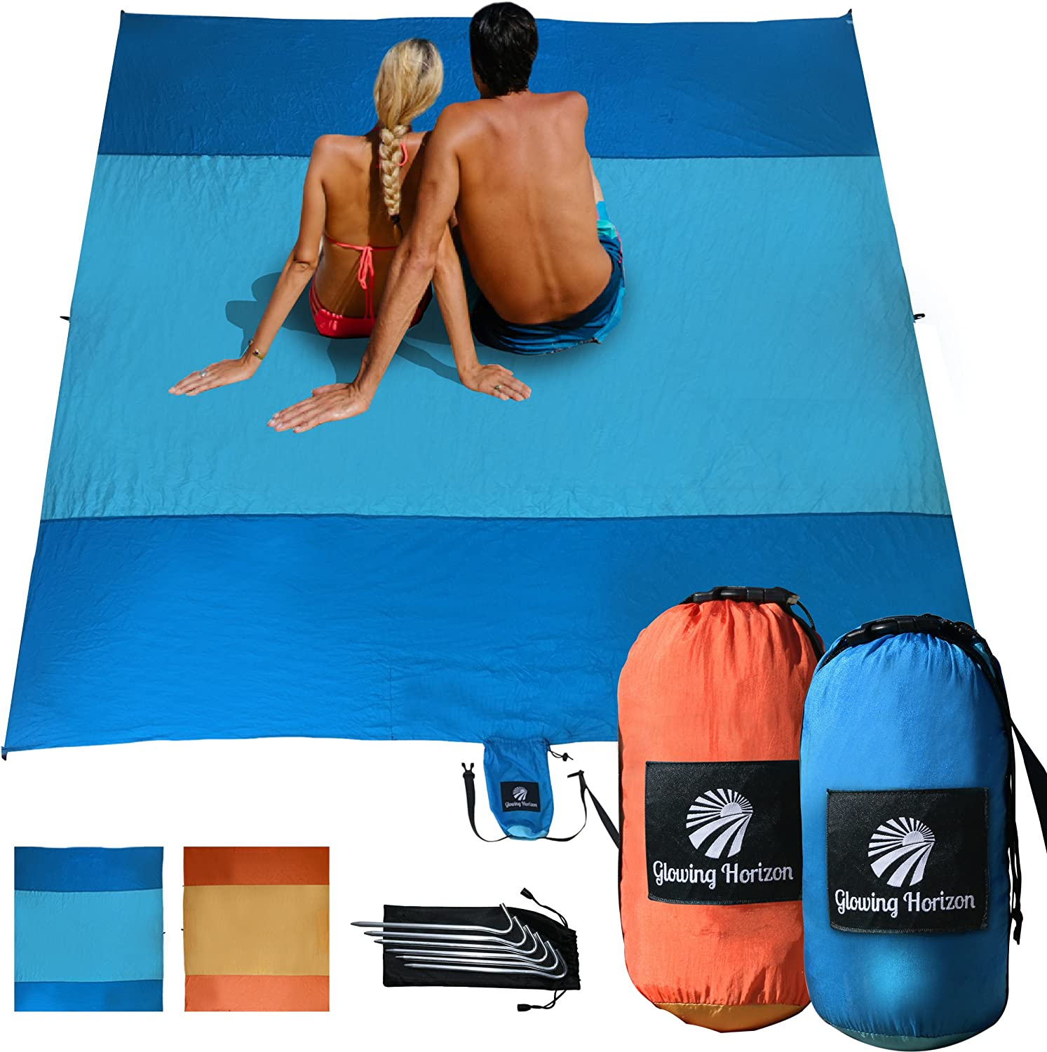 Compact Sand Free Beach Mat Blanket  Extra Large to fit up to 7 Adults (275cm x 300cm) 8 Hidden Sand Pockets + 6 Metal Stakes + Storage Pocket  Quick Drying, Lightweight Strong Nylon