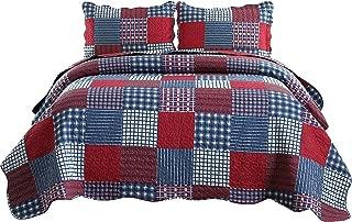 Jessy Home Quilts Queen Size,Plaid Patchwork Coverlet Set,Reversible Bedspread Set,3 Pieces 1 Quilts 2 Pillow Shams