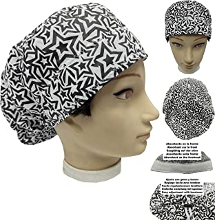 Cappello sala operatoria donna STELLE BIANCO E NERO per Capelli Lunghi Asciugamano assorbente sulla fronte facilmente rego...