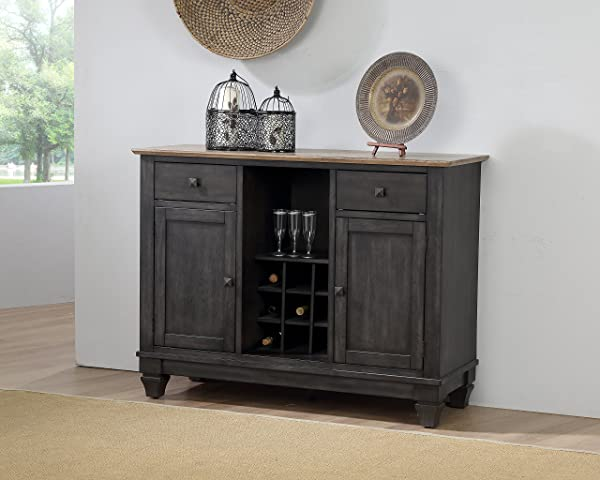 Kings Brand Alleyton Charcoal Oak Wood Wine Rack Buffet 2 Door Storage Server Cabinet