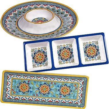 Certified International Portofino - Juego de anfitrionas de melamina, 3 piezas, multicolor