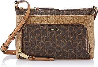 Calvin Klein Women's Lily Crossbody Bag, Monogram Brown, Dimensions: 16cm(h) x 26cm(w) x 6cm(d)
