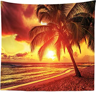Lunarable Beach Tapestry Queen Size, Sunset at The Calm Beach with Palms Exotic Caribbean Island Barbados Scenic View, Wall Hanging Bedspread Bed Cover Wall Decor, 88