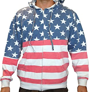 Licensed-Mart Originals Unisex Proud American Flag Zip Up Hoodie Sweatshirt