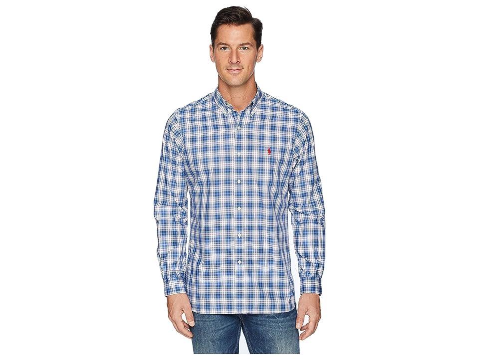 Polo Ralph Lauren Button Down Poplin Sport Shirt in Classic Fit (Royal Blue/Canary Multi) Men
