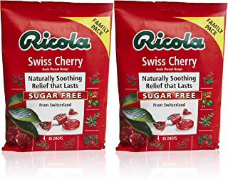 Ricola Sugar Free Swiss Cherry Herbal Cough Suppressant Throat Drops, 45ct Bag (Pack of 2)