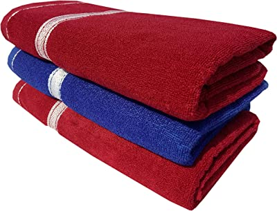 SD enterprises Towel Set of 3 Terry Towels 1 Royal Blue & 2 Maroon Towel 400 GSM Made with 100% Soft Terry, Big Towel Size 30x60 inch Men Bath Towel with Quick Dry and Extra Durability