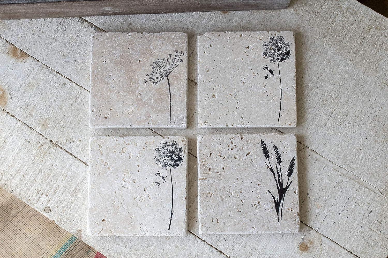 超目玉 Wildflower Stone Coasters - Set Absorbent of Travertine 舗 4 Stampe