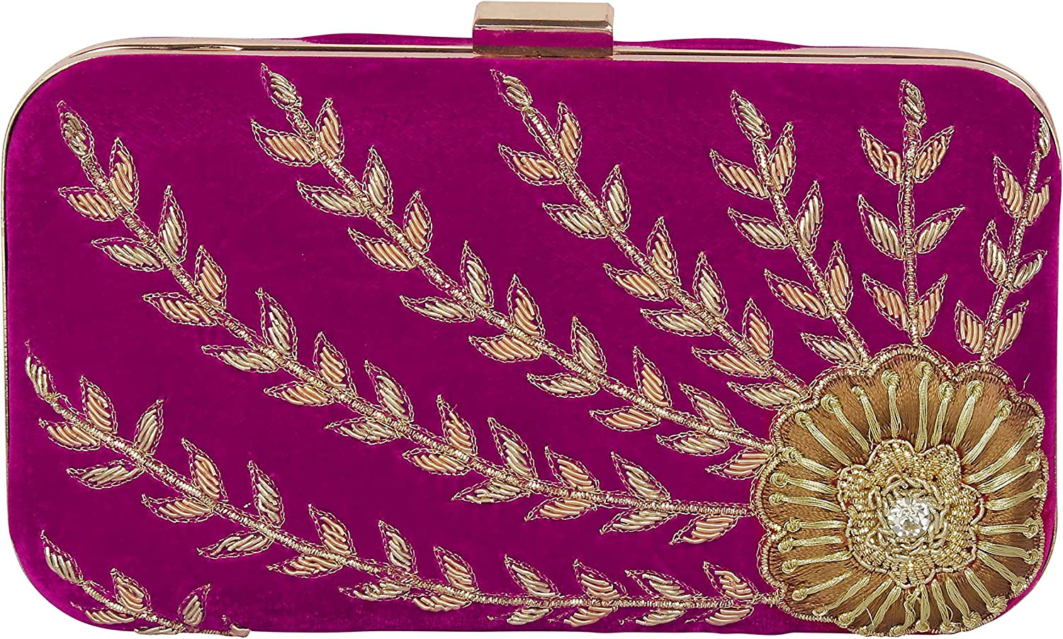 { Extra 10% Discount } Purse Collection Attractive Handmade Rani Bridal Clutch With Embroidery Work For Women's