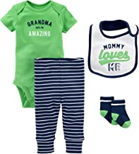 Simple Joys by Carter's Baby Boys' 4-Piece Bodysuit, pant, Bib and Sock Set