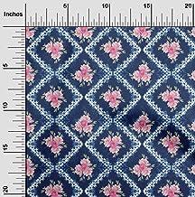 oneOone Cotton Poplin Twill Indigo Blue Fabric Geometric & Floral Shibori DIY Clothing Quilting Fabric Print Fabric by Met...