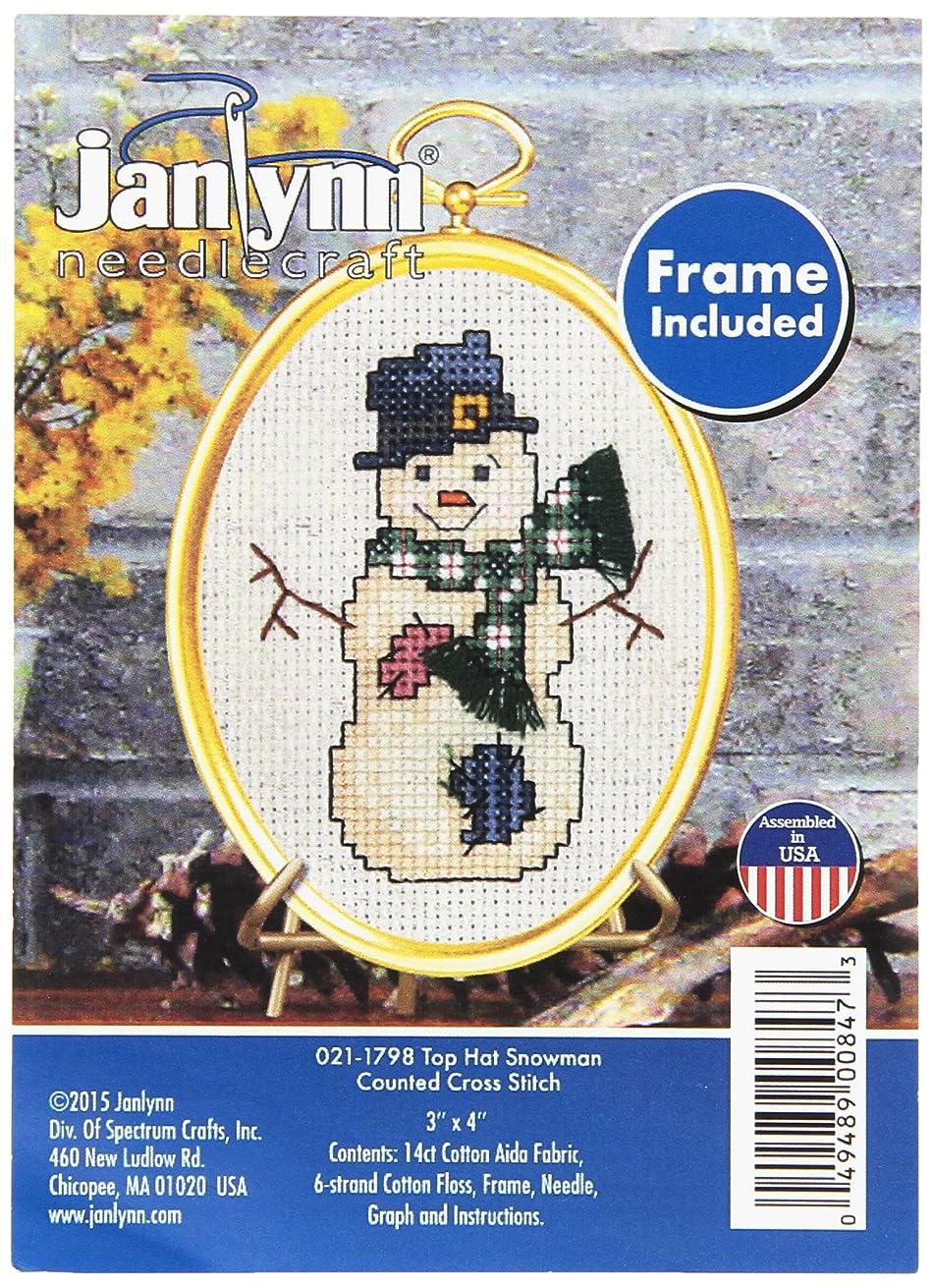 Janlynn 14 Count Top Hat Snowman Mini Counted Cross Stitch Kit, 3