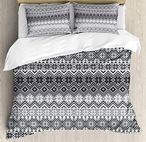 Grey Quilted Coverlet /& Pillow Shams Set Nordic Snowflake Pattern Print