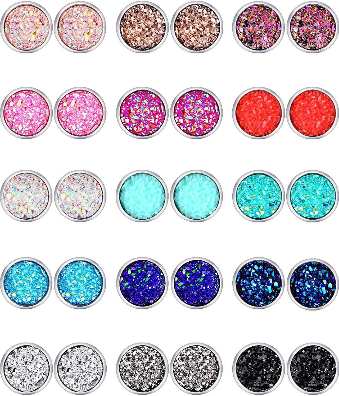 15 Pairs Faux Druzy Stud Earrings Set Bohemian Glitter Pierced Earrings Stainless Steel Round Earrings for Women (6)