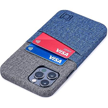 Dockem Luxe M2 Funda Cartera para iPhone 12 y iPhone 12 Pro: Funda Tarjetero Slim con Placa de Metal Integrada para Soporte Magnético: [Azul y Gris]