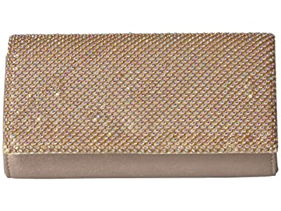 Jessica McClintock Luisa Flap Clutch (Gold Iridescent) Handbags