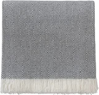 URBANARA 100% Pure Mongolian Cashmere Throw Uyuni 55x79 Charcoal/Cream with Fringe — Extra Soft Wool Blanket, Woven in Striped Diamond Pattern — Light, Naturally Breathable and Warm — A Luxury Gift