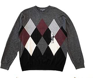 Men's Argyle Merino Wool Blend Sweater, Charcoal, Size L