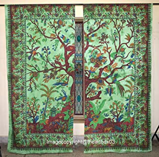 THE ART BOX Window Curtains Indian Window Drapes Set of 2 Tapestry Window Curtains Hanging Valances for Window Room Divider Green Tree, Curtains Each Panel 84x27 Inch