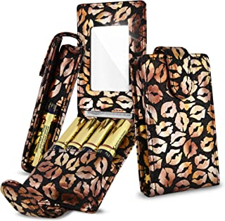 Celljoy Case for LipSense, Younique, Kylie Cosmetics, Liquid Lipsticks and Lip Gloss with Mirror - Fits 4 Tubes Mirror Card Slot - Travel Purse Storage (Black Glitter Gold Lips)