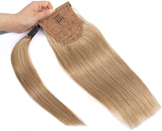 18 Inches Silk Straight Clip in Ponytail Hair Extensions Remy Human Hair for Women 1 Piece Hairpiece 80 Grams Wrap Around Ponytail Human Hair Extensions Light Brown