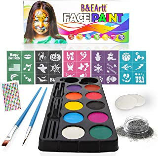 B&E Artt Face Painting Kit for Kids & Adults | Bonus Rhinestone Stickers | 30 Stencils 2 Brushes 2 Sponge Pads 1 Glitter | Professional Face & Body Paints in 10 Vibrant Colors Safe for Sensitive Skin