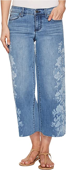 Liverpool Allison Crop Raw Edge in Vintage Super Comfort Stretch Printed Denim in Melbourne Light