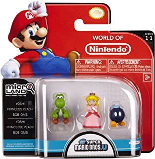 Nintendo Mario Bros Universe Micro Wave 1: Bob-Om, Princess Peach and Yoshi Action Figure, 3-Pack