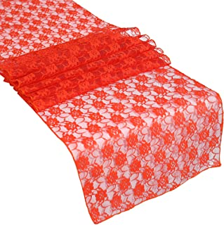 mds Pack of 15 Wedding 12 x 108 inch Lace Table Runner for Wedding Banquet Decor Table Lace Runner- Red