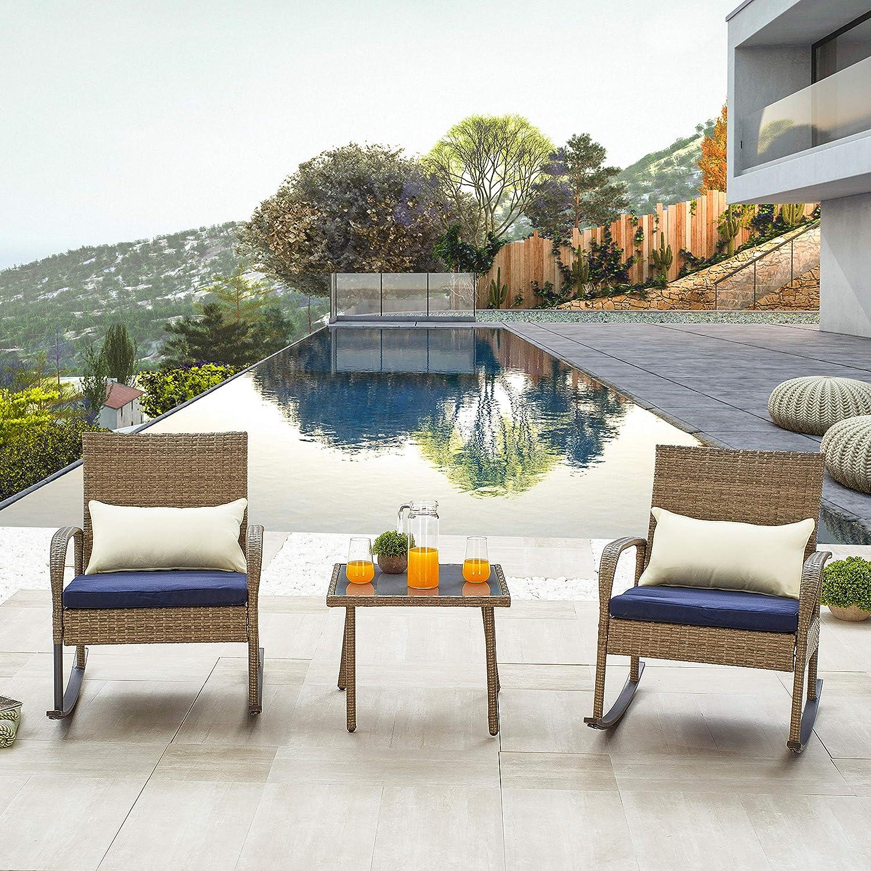 LOKATSE HOME 25% OFF Special Campaign 3 Pcs Outdoor Patio Conversation Rattan B Furniture