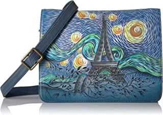 Handpainted Leather Medium Saddle Crossbody-love In Paris