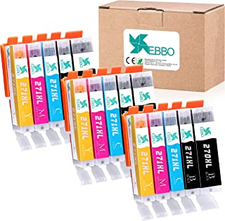 EBBO Compatible Ink Cartridges Replacement for Canon PGI-270XL CLI-271XL PGI-270 CLI-271 XL Compatible with Pixma TS5020 TS6020 MG5720 MG5722 MG5721 MG6820 MG6821 MG6822 Printer (5 Colors, 15-Pack)