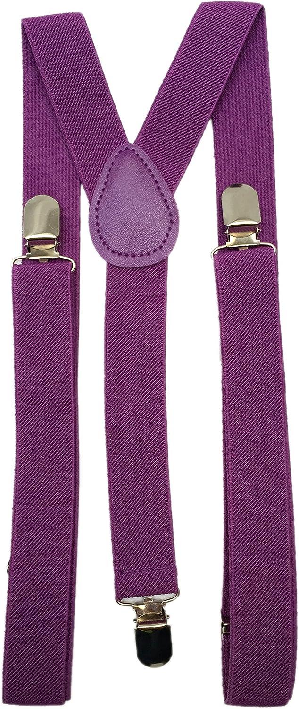 Punk Braces Suspender Unisex Plain Purple