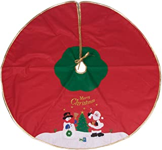 Clever Creations Snowman and Santa Tree Skirt Red, and Green with Gold Border | Christmas Tree & Snow Design | Traditional Theme | Helps Contain Needle and Sap Mess on Floor | 40