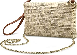 Straw Zipper Small Cross body bag Wristlet Clutch Womens Purse