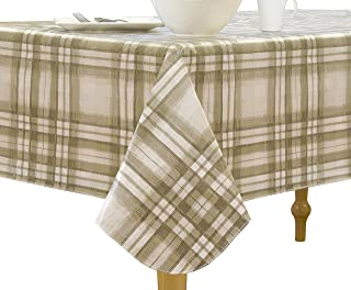 """Elrene Home Fashions Vinyl Tablecloth with Polyester Flannel Backing Country Plaid Easy Care Spillproof, 60"""" x84"""" BBQ with..."""