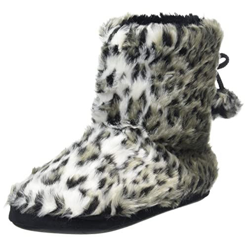 86227797a996 Ladies Plush Faux Fur Leopard Animal Print Lined Bootie Slippers With  Pompoms