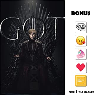 Movie Poster Game of Thrones GOT Season 8 - Cersei 13 in x 19 in Poster Flyer Borderless + Bonus 1 Free Tile Magnet