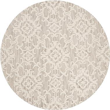 Safavieh Blossom Collection BLM104A Handmade Premium Wool Area Rug, 6' x 6' Round, Grey / Ivory