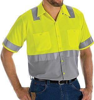 Red Kap mens Hi-Vis SS Colorblock Ripstop Work Shirt - Type R, Class 2 Shirt
