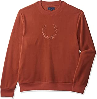Fred Perry Men's Embroidered Fleece Sweatshirt, Red (Paprika), Large