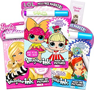 Girls Coloring Book Imagine Ink for Girls Super Set ~ Bundle Includes 3 No Mess Magic Ink Activity Books Featuring My Little Pony, LOL Dolls, and Barbie with Over 100 Stickers