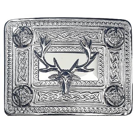 Details about  /Mens Scottish Kilt Belt Buckle Thistle Embossed Highland Pin /& Brooch Stag Head