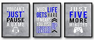 Brooke & Vine Video Game Wall Decor, Gaming Posters, Teen Boy Gamer Decor - Game Room, Playroom, Media Room, Bedroom, Dorm, Office, Desk, Mancave (Unframed 8 x 10 Set of 3 Prints) Gaming Blue