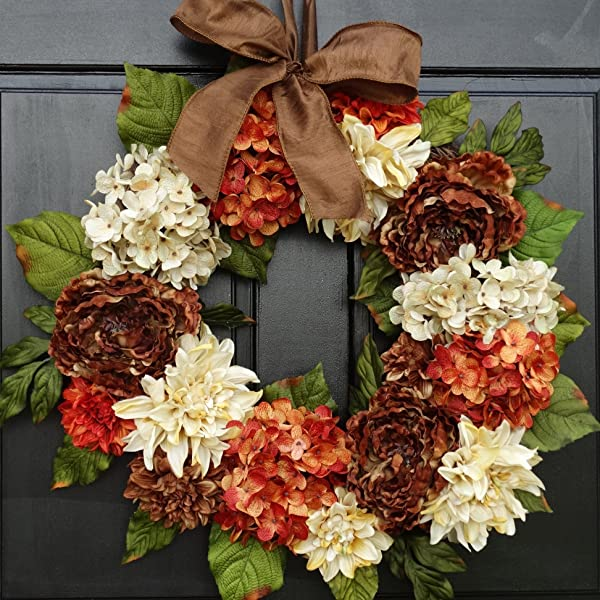 Large Brown Cream And Orange Rust Dahlia Hydrangea And Peony Mixed Floral Thanksgiving Fall Wreath For Front Door Decor 24 Inch