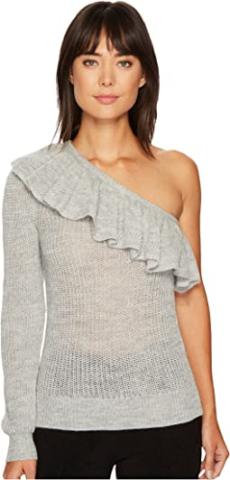 One Shoulder Ruffle Alpaca Pullover