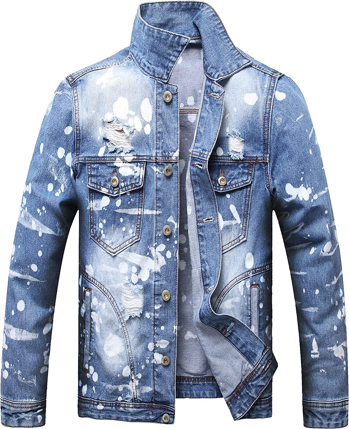 LUCKAMILEE Jean Jacket for Men Dallas Mall Ripped D Distressed Trucker Direct sale of manufacturer Loose