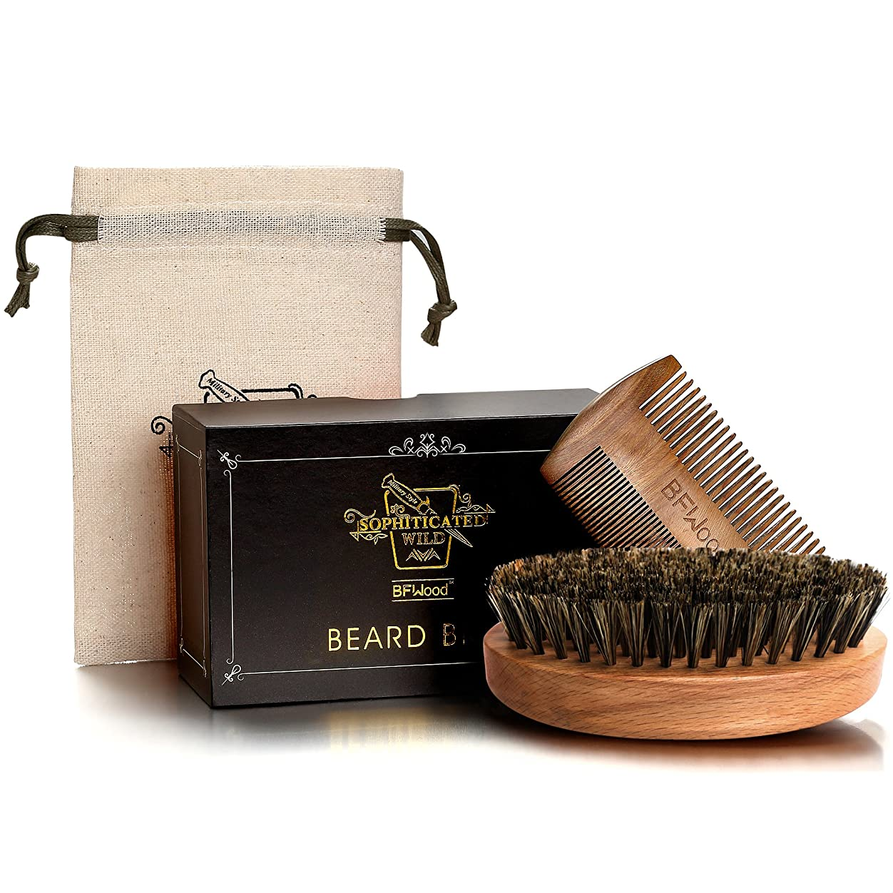 行政折り目曲BFWood Beard Brush Set 豚毛髭ブラシと木製コム アメリカミリタリースタイル (ブラシとコムセット)