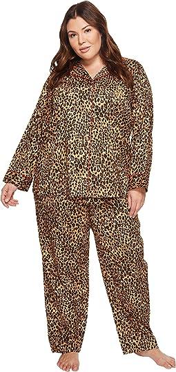 LAUREN Ralph Lauren - Plus Size Folded Sateen Leopard Pajama