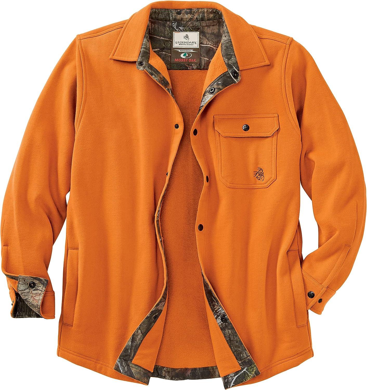 Legendary Whitetails Men's Big Woods Camo Lined Brushed Knit Fleece Shirt Jacket